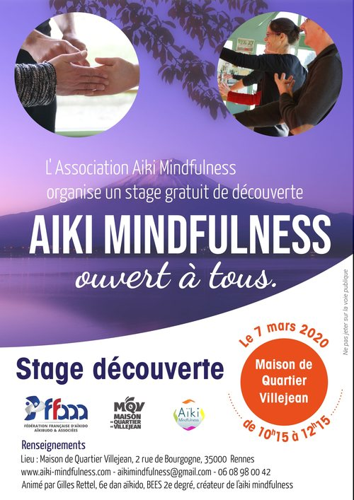 Stage gratuit Aïki Mindfulness 7 mars 2020 @ Maison de quartier de Villejean | Rennes | Bretagne | France