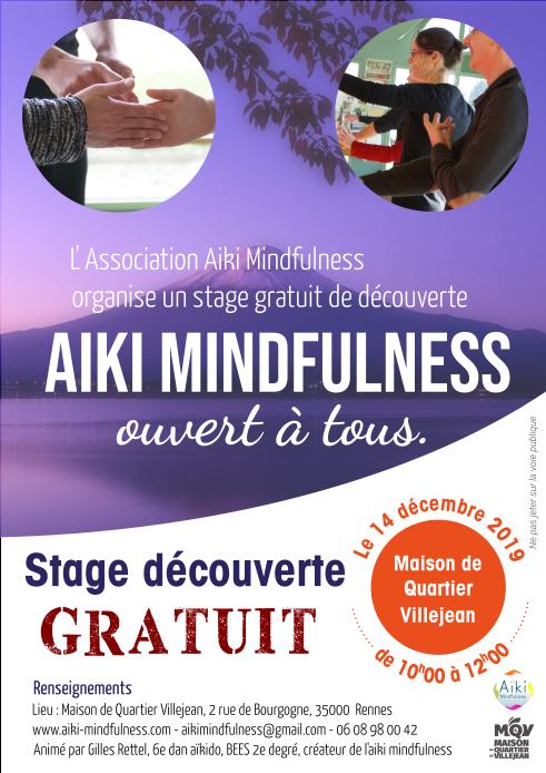 Stage gratuit Aïki Mindfulness 14 décembre 2019 @ Maison de quartier de Villejean | Rennes | Bretagne | France